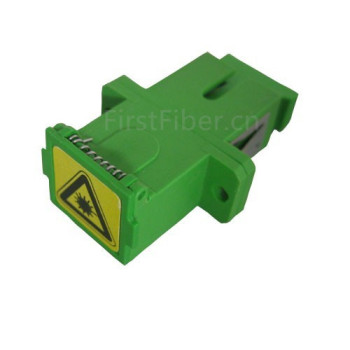 FirstFiber sc apc fiber adapter connector auto shutter sidewise dust cap single mode simplex green plastic housing with flange image