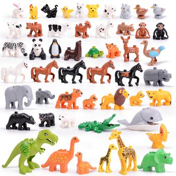 Legoing duploed seria plakatów ze zwierzętami duże klocki do budowania czarny kot pies lew i tygrys słoń z zabawkami dla dzieci kids party gift tanie i dobre opinie HAPPY MONKEY Certyfikat Building block DIY toys Bloki Do not eat far the fair Unisex 3 lat Plastic Construction DIY Educational ENLIGHTEN Toys brinquedos