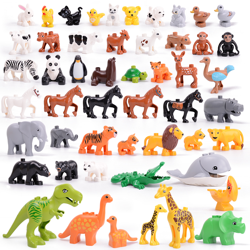 Legoing Duploed Animals Series Big Building Blocks Black Cat Dog Lion And Tiger Elephant With Toys For Childrens Kids Party Gift