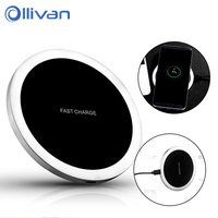 OLLIVAN Qi Charger Metal Aluminum Portable Wireless Charger Fast Charge For Samsung Galaxy S8 S7 Note