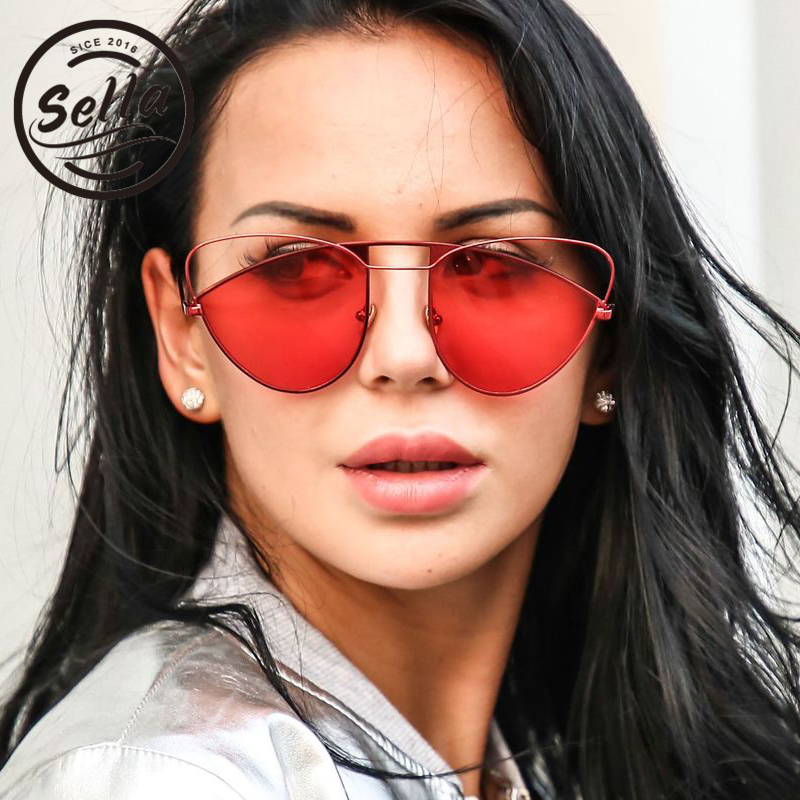 Sella 2018 New Fashion Unique Oversized Cateye Women Sunglasses Ladies Irregular Hollow Out Tint Red Lens Sun Glasses