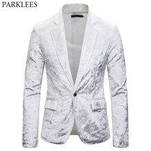 Erkek kadife kadife beyaz Blazer ceket 2019 yeni Slim Fit bir düğme kadife takım elbise ceket erkek parti kulübü sahne blazer Masculino
