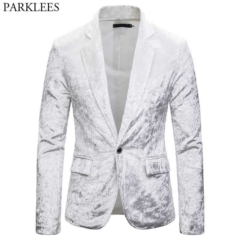 Men's Velvet Velour White Blazer Jacket 2019 New Slim Fit One Button Corduroy Suit Jacket Male Party Club Stage Blazer Masculino