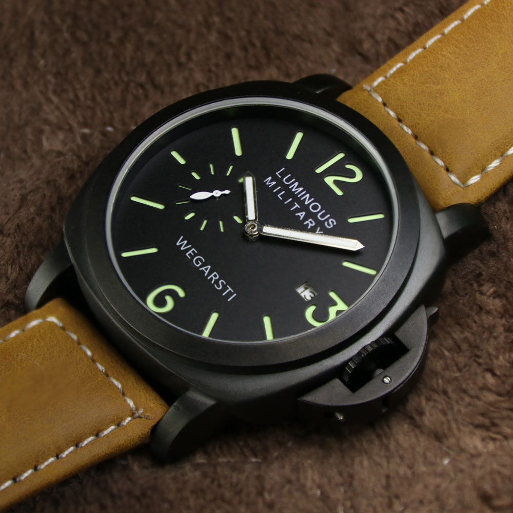 WEGARSTI Herrenuhr Top-marke Luxus Lederband Uhren Männer Armee - Herrenuhren