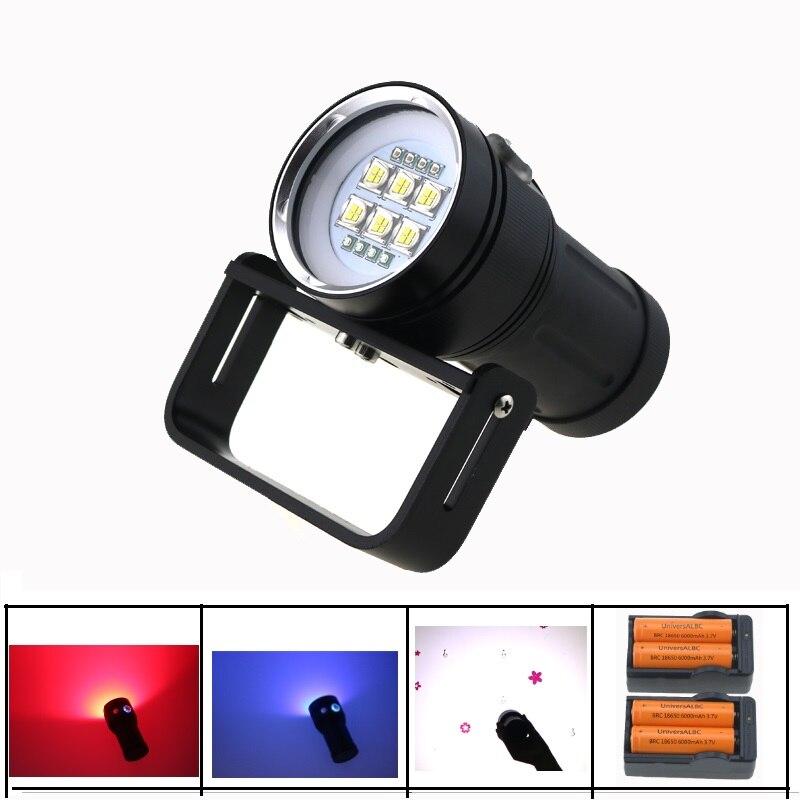 все цены на 20000LM Underwater Video Diving Flashlight 6x SST-90 White Light + 4x Red Light +4x Blue / UV Light Waterprof + 18650 Battery онлайн