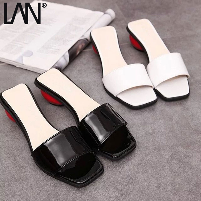 f35574a0dc2 LANSHULAN 2017r Women Slippers Summe Strange Style Women Slides Fashion  Platform White Black Woman Slides