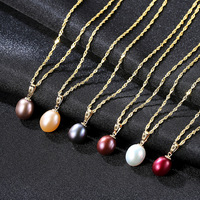 S925 Silver Necklace With Natural Freshwater Pearl Pendant and Gold Hanging jewerly