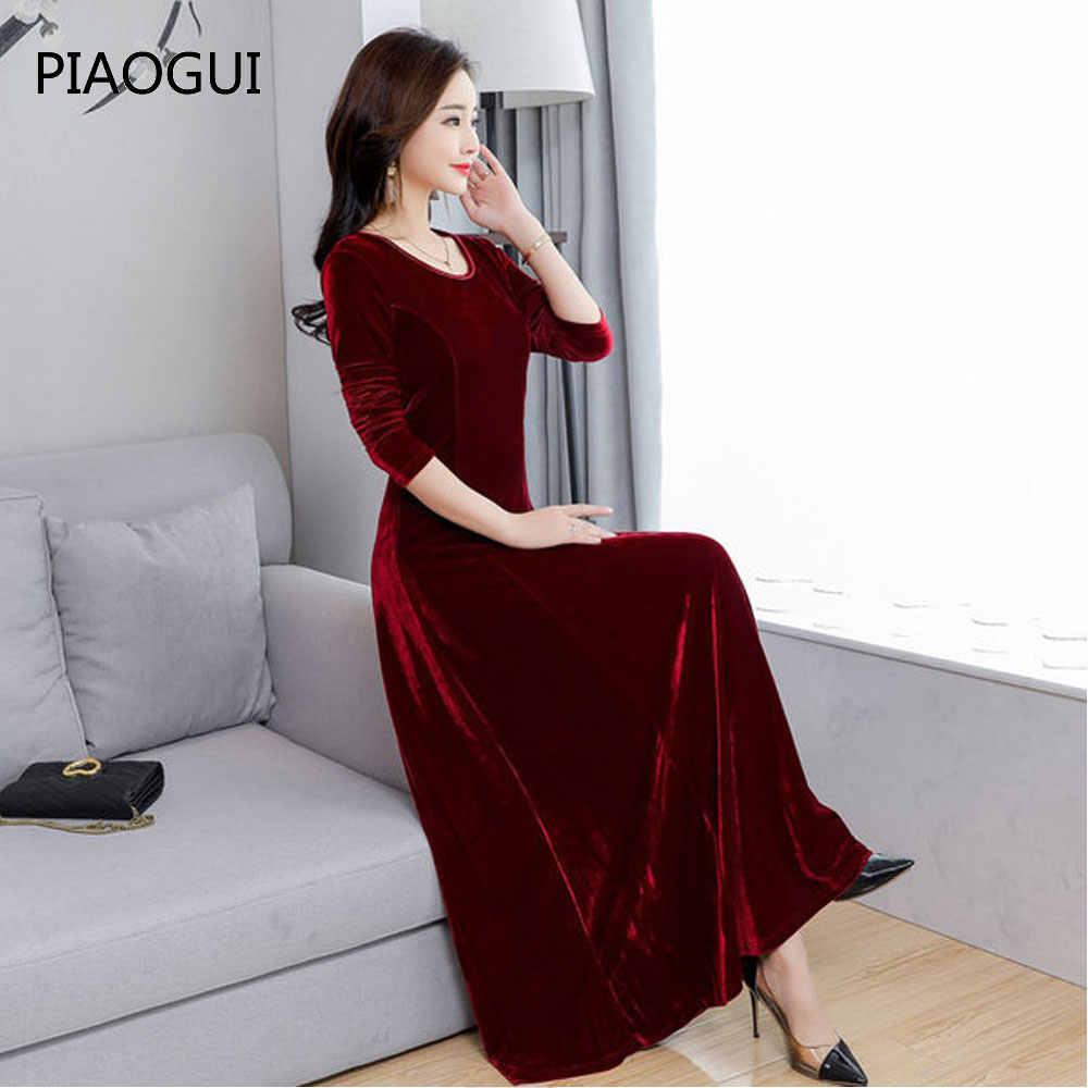 db53cd530587c Elegant Ladies Long Dresses Women Long Sleeve Vintage Green Black Velvet  Dress 2019 Spring Party Dress Plus Size Dress New