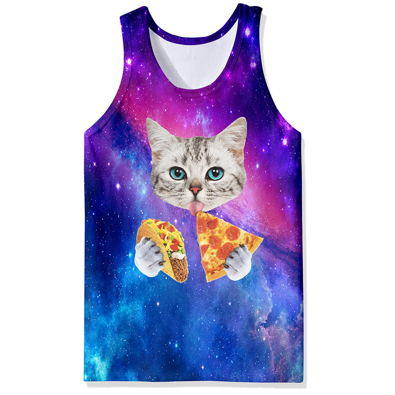 Men/Women 3d   Tank     Tops   Summer Cool Vest Funny Print Eating Pizza Cat Space Galaxy Tees Shirts