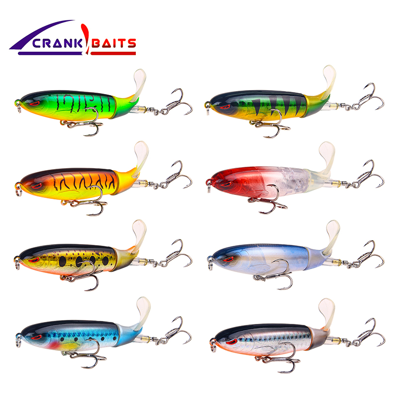 CRANK BAITS Professional Whopper Popper 8.5cm 13.8g Topwater Fishing Lure Artificial Bait Hard Plopper Soft Rotating Tail YB507 free shipping 3pc 18cm 150g fishing wood baits poppin gt game lure wood popper lure big wood popper baits vmc hooks with hole