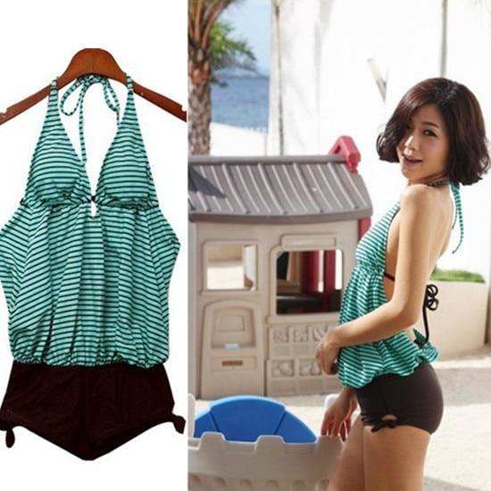 Fashion Ladies Halter Padded Green Striped One Piece Monokini Swimwear Swimsuit US6/8/10-12/14