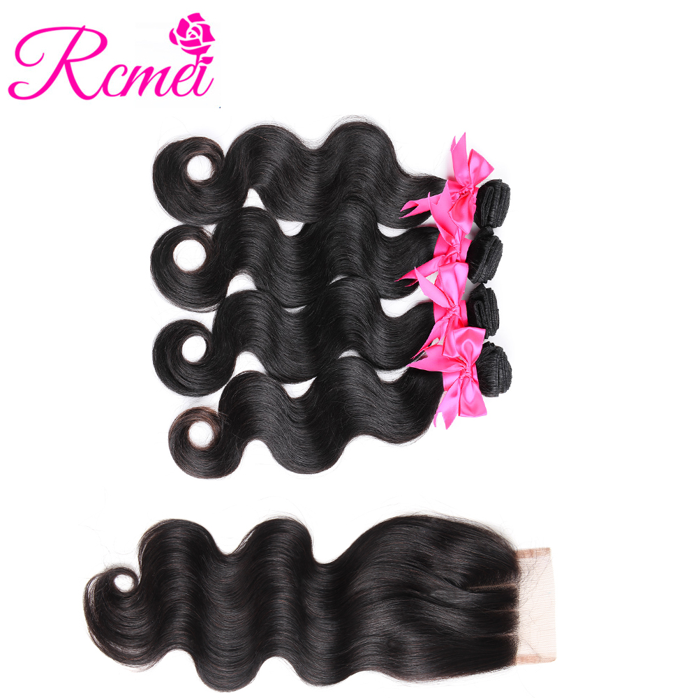 Rcmei Hair 4 Bundles With Closure Non Remy Hair Indian Body Wave with Swiss Lace Closure 100% Human Hair Natural Color