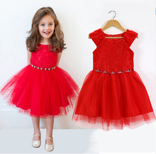 2016 Retail New wedding party Flower Girl Dress Bright Christmas Red Short Sleeve Gift Dress girl children clothes hot sale