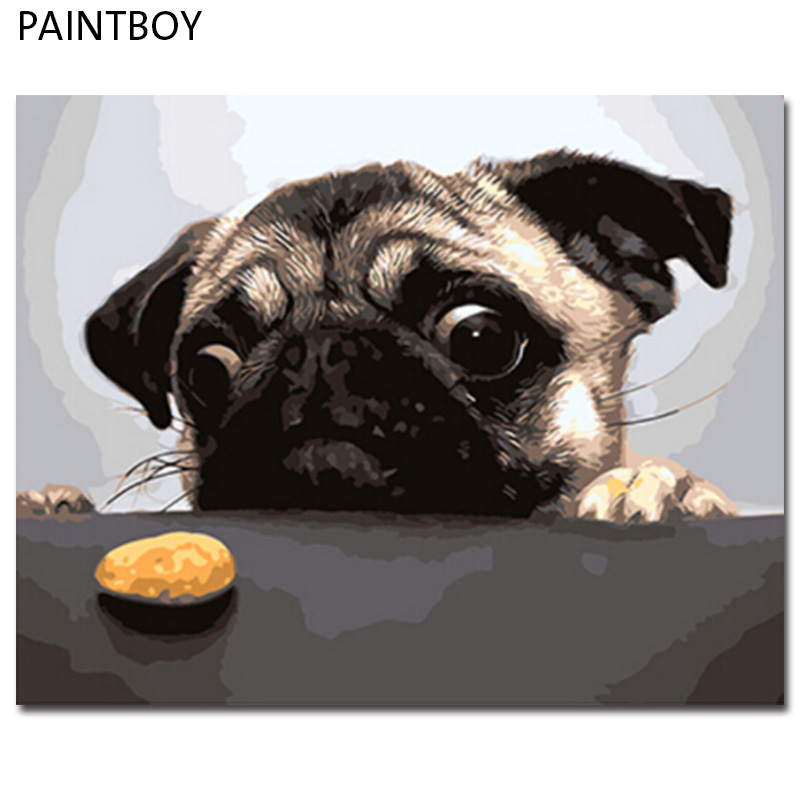 PAINTBOY Framed Pictures DIY Oil Painting By Numbers Of Dog Painting&Calligraphy Home Decoration For Living Room 40*50cm GX8765