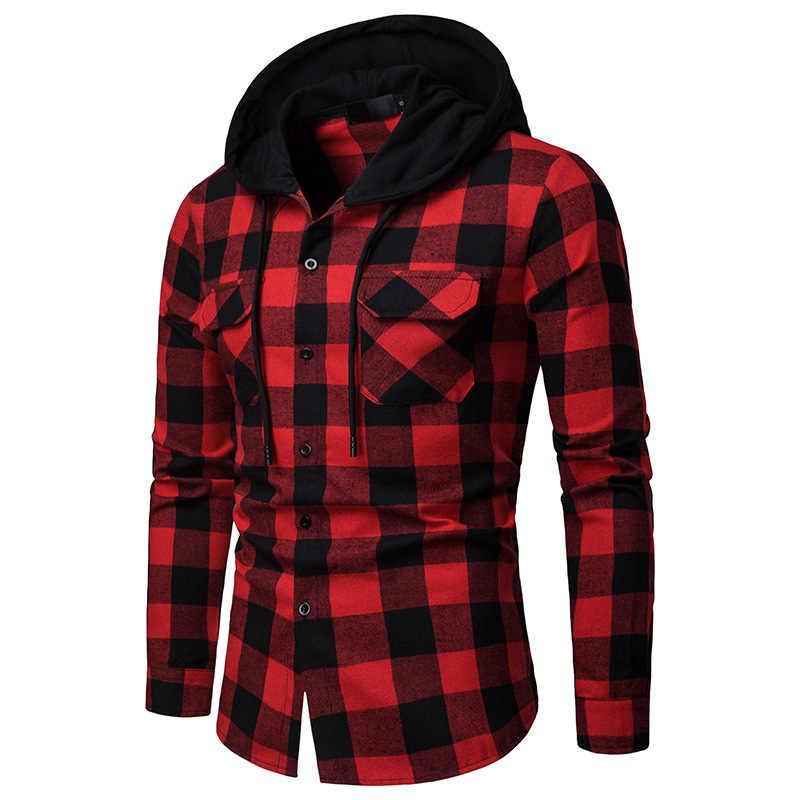 Мужская хипстерская рубашка Buffalo в красно-черную клетку с капюшоном рубашки с 2 нагрудными карманами Повседневная длинный рукав хип хоп Уличная одежда Camisas XXL