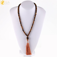 CSJA Long Chain Maxi Necklaces Statement Silk Tassel Pendant For Women Sweater Natural Stone Beads Buddha