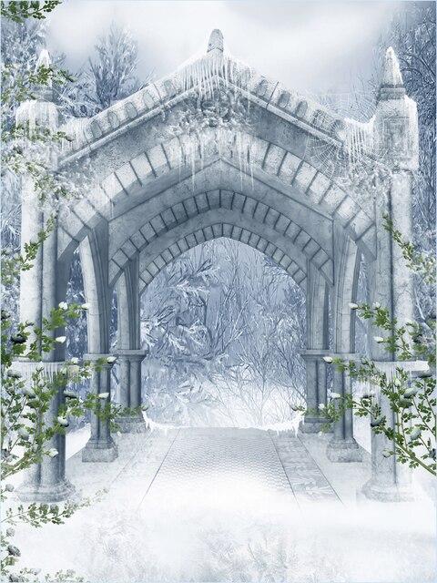 HUAYI Neige forêt toile de fond De Noël Arbre Château porte contexte XT3989