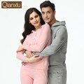 Qianxiu casal pijama definir moda primavera algodão de manga comprida mulheres Pijamas Pijamas salão Sleepwear roupa Top e calças