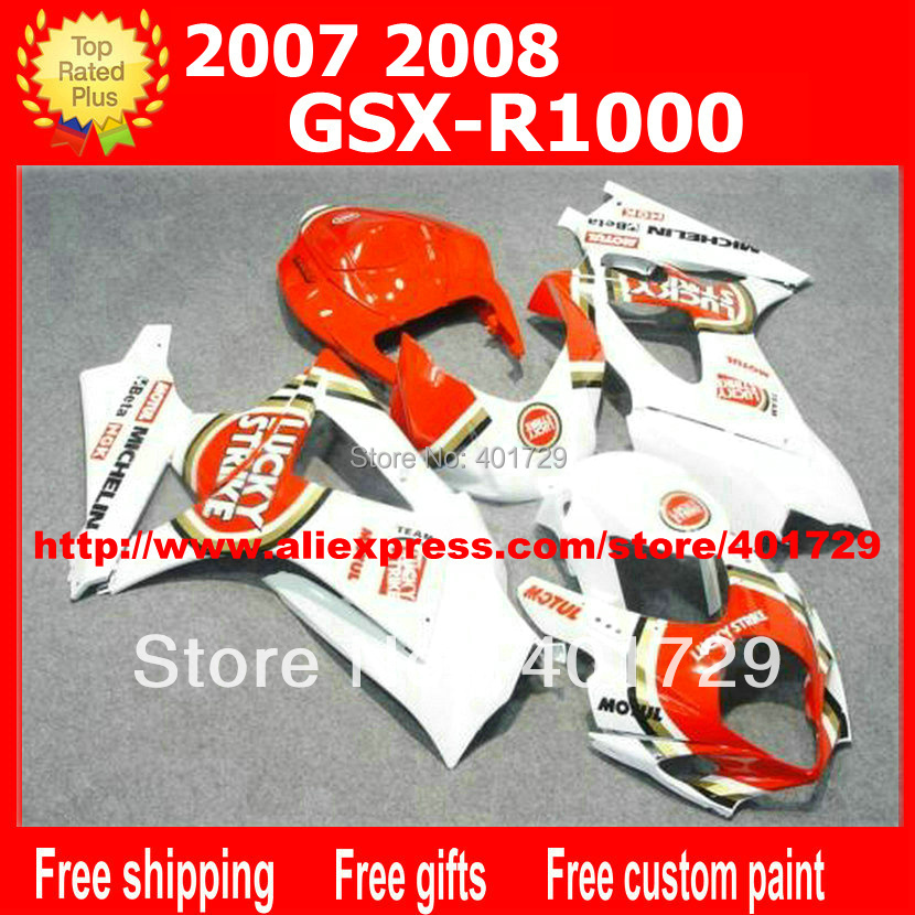 Bodywork fairings 7 gifts for <font><b>Suzuki</b></font> <font><b>GSXR1000</b></font> GSX-R1000 2007 2008 <font><b>K7</b></font> GSXR 1000 07 08 red Lucky Strike motorcycle fairing AQ32 image