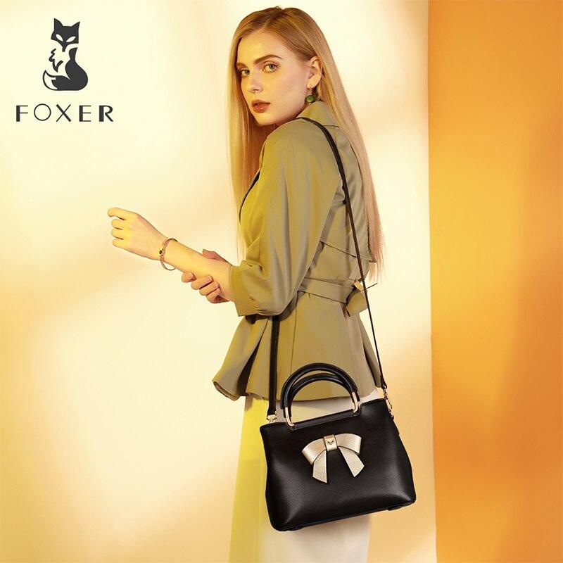 FOXER Ely Women Elegant Bow Tote Black