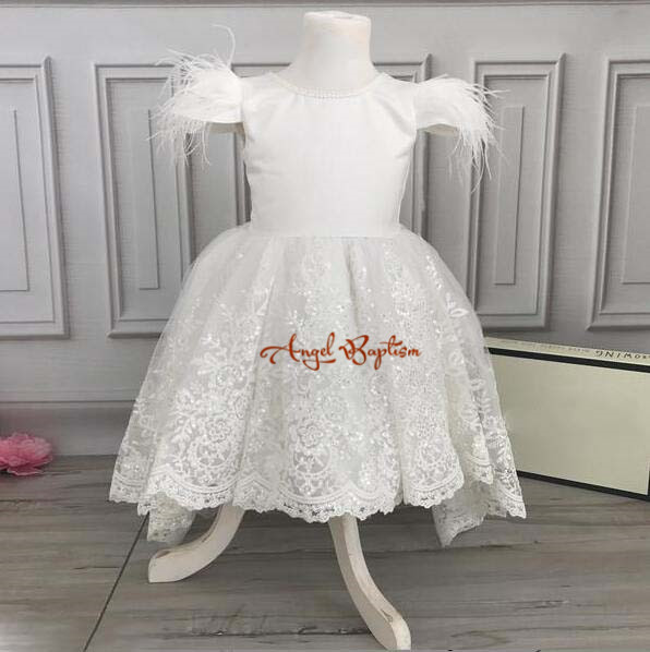 White Hi-lo lace pearls beaded flower girl dresses holy first communion gown baby birthday party baptism dress with ostrich fur