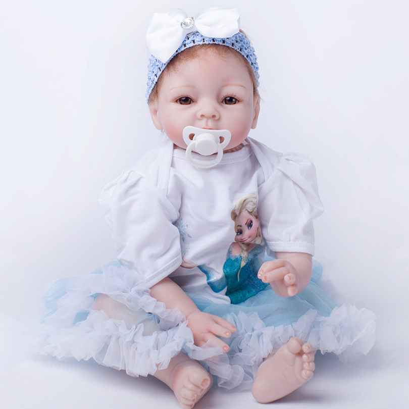 Hot Sale 2017 New 22 Inches Blue Dress Baby Play Toy Girl Dolls 55cm Soft Doll Reborn Baby Lovely Toys Cute Girl Partner 22 inches sweet girl dolls brown hair 55cm doll reborn baby lovely toys cute birthday gift for girls as american girl