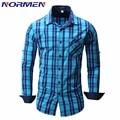 NORMEN Brand Clothing мужская Мода Плед Рубашки Полный Рукавом Повседневная Рубашка Для Мужчин Смокинг Рубашки сорочка homme camisa masculina
