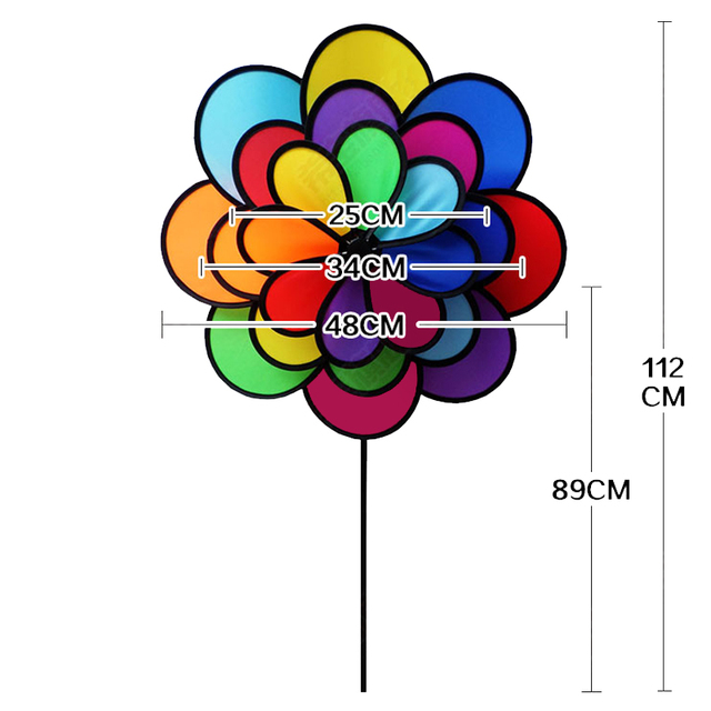 New Large Windmill Toys 44in Triple Rainbow Flower Spinner For Outdoor  Garden Yard Decor