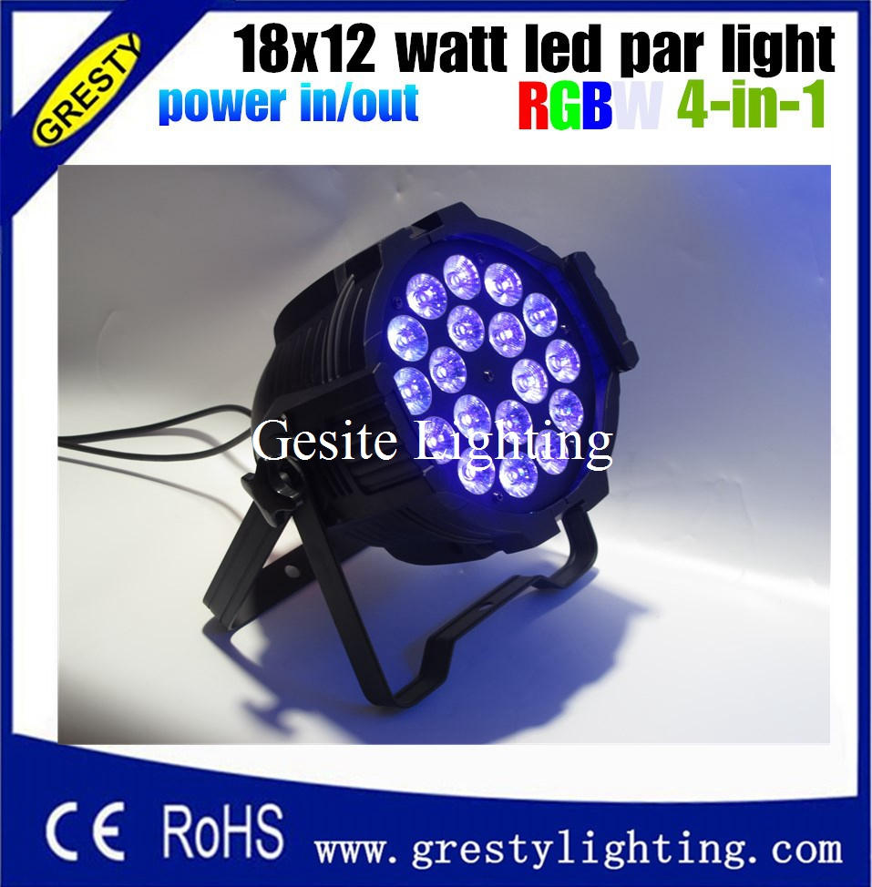 6 pieces/lot Good Quality LED Par Quad 18x12W Wash Dmx Par Light American Dj Par RGBW 4in1 DMX with power in power out