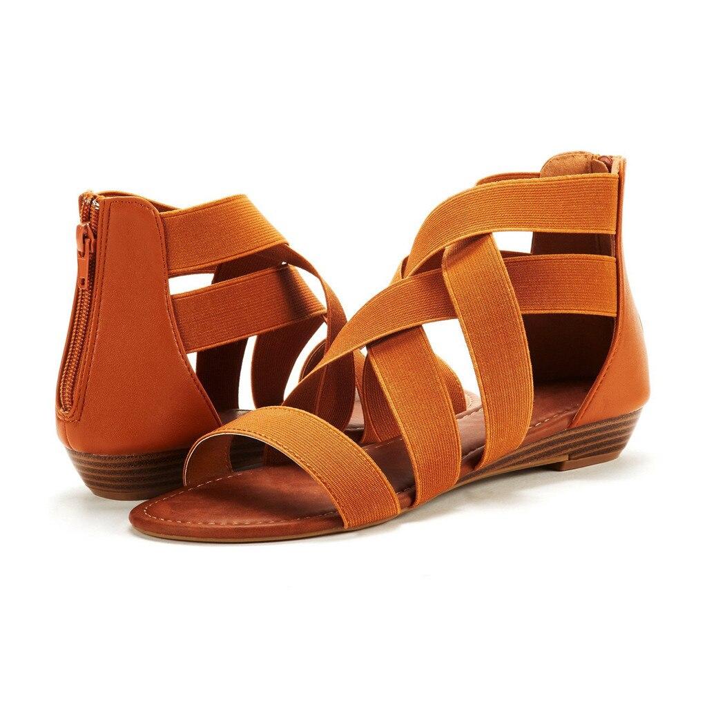 Sandals Women sandalias Ladies Summer Cross Elastic Strap Ankle Wedges Roman Sandals Shoes woman sandale femme 2019 womens shoes girl shoes in sri lanka