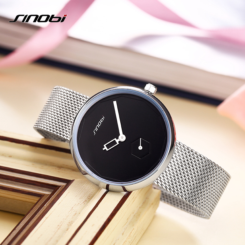SINOBI Women Watches Sliver Top Brand Fashion Creative Dial Ladies Quartz Clock Watch Women Bracelet Watch Reloj Mujer Mesh Hour цена 2017