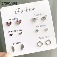 6 pairs /lot Cute Heart Bowknot Moon Small Stud Earrings Sets For Women Child Round Rhinestone Pearl Star Earring Jewelry Gifts(China)