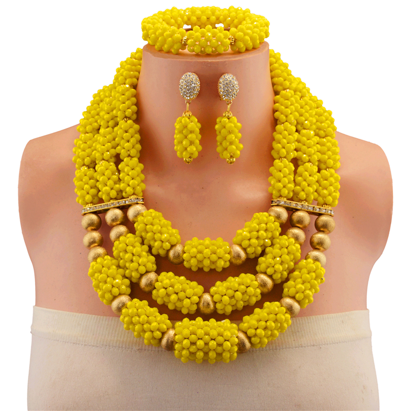 African Beads Jewelry Sets Nigerian Wedding Bridal Copper Yellow Necklace Set Women African Crystal Beads Jewelry Set