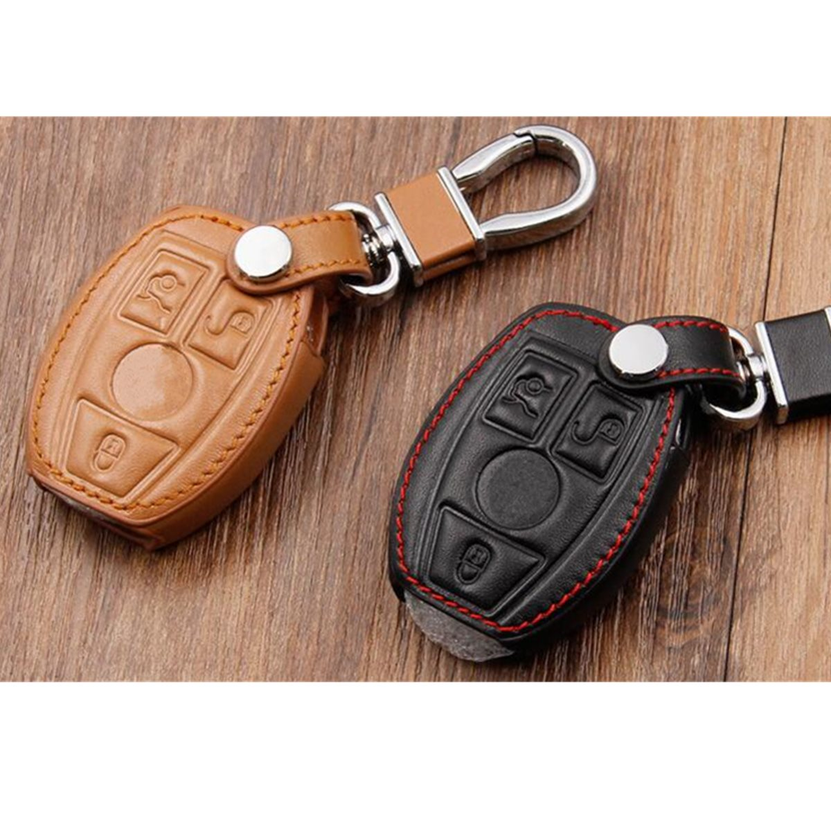 Leather Key Cover Case Holder For Mercedes-Benz Remote Smart Key 3 4 Button C E S G Black/Brown