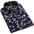 2017 Primavera Floral Impressão Camisas Dos Homens Longos Da Luva Dos Homens Camisas de Vestido camisa masculina Camisa Ocasional Dos Homens Magros Impressão Flor