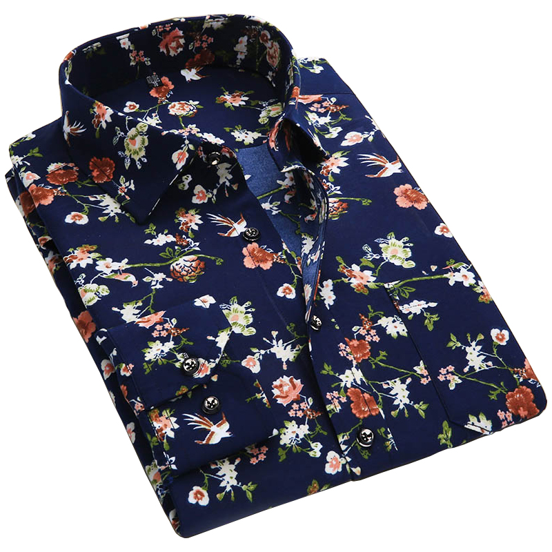 2018 Spring Floral Print Men Shirts Long Sleeve Mens Casual Shirt Slim Men Flower Printing Dress Shirts camisa masculina
