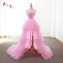 Prom-Dresses Formal-Gowns Alibaba China Custom-Made Pink High Low Ballkleider Jark Vestido-De-Festa
