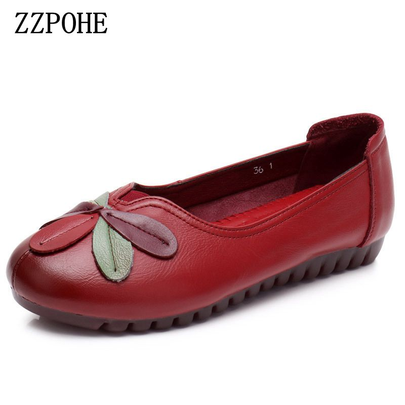 ZZPOHE 2018 spring autumn new mother shoes fashion casual leather large size women's shoes Soft bottom comfortable grandma shoes 2017 new genuine leather mother shoes soft bottom shallow mouth flats large size casual elderly shoes spring autumn women shoes