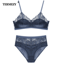 TERMEZY New Sexy Velvet Bra set Luxury Lace Trim Underwear Women Lingerie thin cotton Cup brassiere High Waist Panties Set