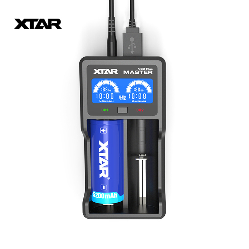 XTAR VC2 Plus Smart Universal LCD Screen Display Battery Fast Charger for 10440/16340/14500/14650/17670/18350/18500/18650
