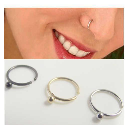 2piece Medical Titanium Gold Silver Ball Nose Hoop Nose Rings Clip