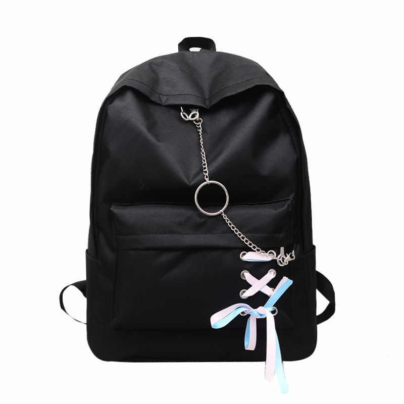 14d95d66a0e6 Студенческая сумка женская новая Корейская хип-хоп рюкзаки с цепочками  Harajuku Холст Школьный рюкзак для