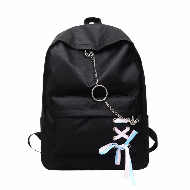 Student Bag Female New Korean Hip-hop Backpacks With Chains Harajuku Canvas School Backpack For Teenage Girls Mochila Escolar