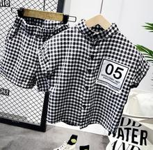 2020 Summer style Children clothing sets Baby boys plaid shirt + shorts pants sports suit kids clothes 2 6years