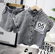 2020 estilo verão crianças conjuntos de roupas do bebê meninos xadrez camisa + shorts calças esportes terno crianças roupas 2 6years