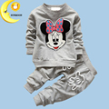 Kids Clothes 2016 Autumn/Winter Baby Boys Girls Cartoon Mickey Minnie Cotton Set Children Clothing Sets Child T-Shirt+Pants Suit