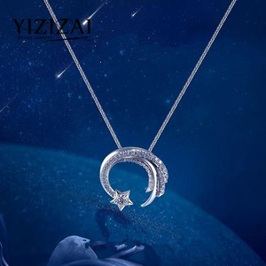 YIZIZAI Fashion Silver Plating Meteor with Cubic Zircon Pendant Necklace Women Silver Womens Necklace Girls Lucky Gift Jewelry(China)