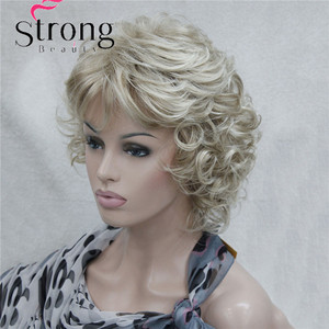 Image 3 - StrongBeauty Korte Zachte Shaggy Gelaagde Blonde Mix Full Synthetische Pruik Krullend vrouwen Pruiken