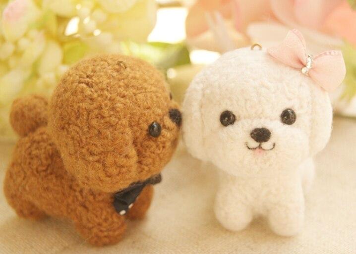 A pair of white brown dog cartoon set wool needlepoint kit wool felt needle felting keychain craft needlecraft DIY handmade