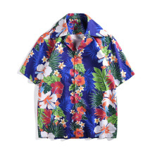 Chic Men/womens Beach style Shirts 2019 summer casual loose short sleeves shirts Fashion floral print Mens Top A344